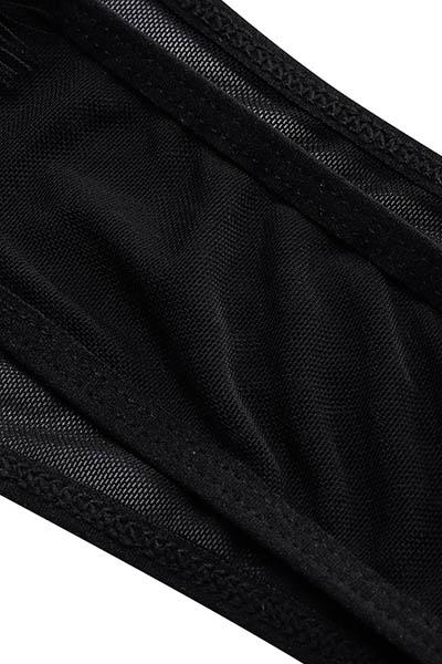 сексуальный глубокий V шеи длинные рукава сквозной черные кружева цельных тощих комбинезонах