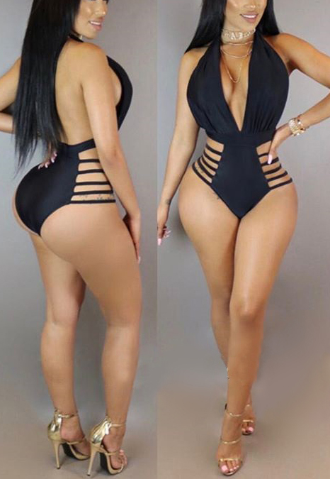 Lovely Sexy Hollowed-out Black One-piece Swimwear