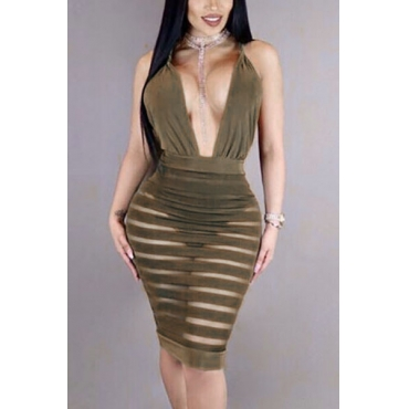 Sexy V Neck Sleeveless See-Through Backless Army Green Polyester Sheath Knee Length Dress