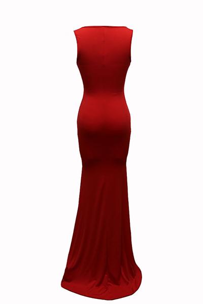 Euramerican U-em forma de pescoço, sem mangas, algodão, mistura, bainha, chão, comprimento, vestido