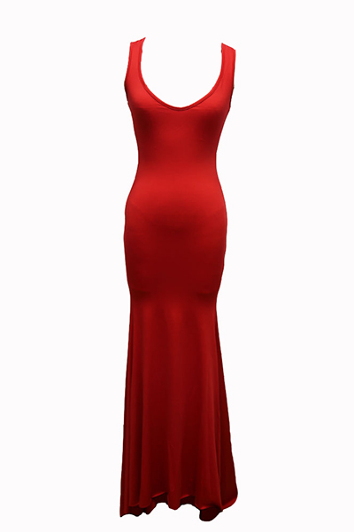 Euramerican U-shaped Pescoço Sem Mangas De Algodão Vermelho Mistura Bainha Até O Chão Vestido
