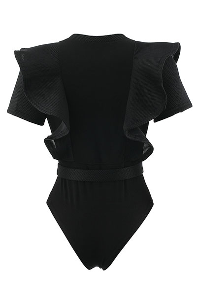 Sexy Round Neck Short Sleeves See-Through Black Polyester One-piece Skinny Jumpsuits
