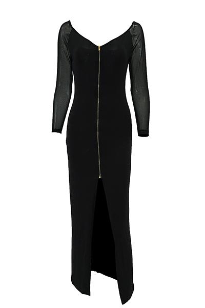 Модные V Шеи С Длинными Рукавами Марли Лоскутное Черный Полиэстер Оболочки Голеностопного Длина Платья