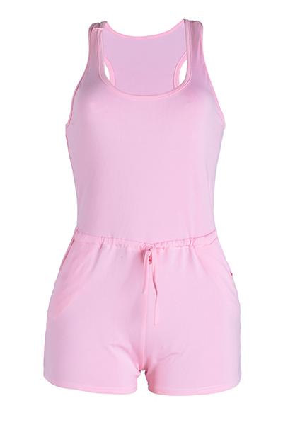 Leisure U-Design em forma de cordão do pescoço Pink Qmilch One-peça macacão magro