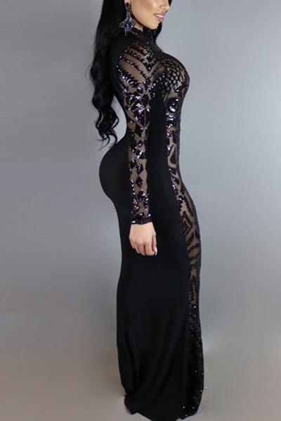 Encantador cuello redondo mangas largas lentejuelas Decoración Negro vestido de fibra de leche longitud del tobillo vestido