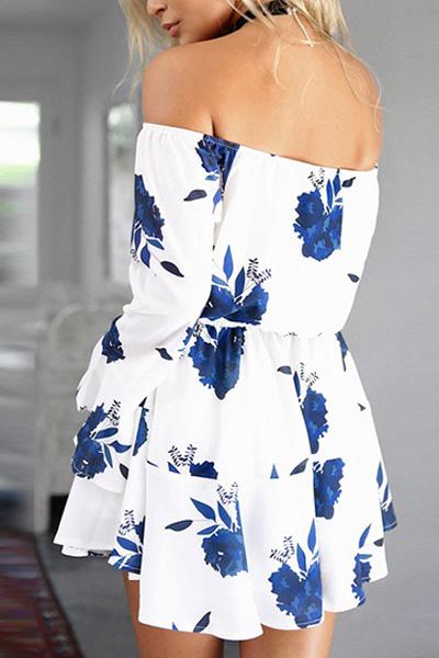 Polyester Bohemian Bateau Neck Long Sleeve A Line Mini Dresses