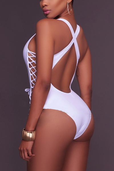 Sexy Hollow-out White Polyester One-piece Swimwear