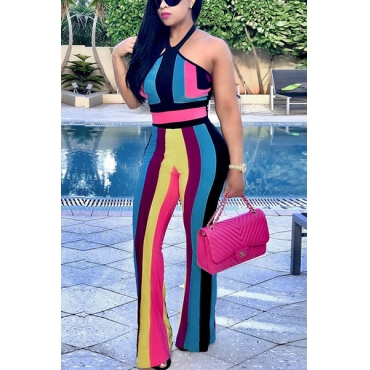 Multi Polyester Pants Color Block V Neck Sleeveless Sexy Two Pieces