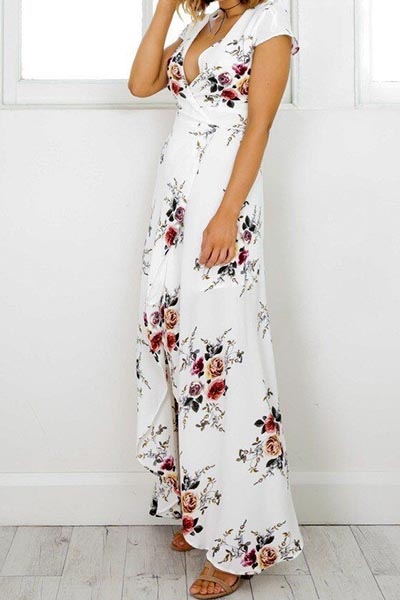 Polyester Bohemian V Neck Short Sleeve A Line Ankle Length Dresses