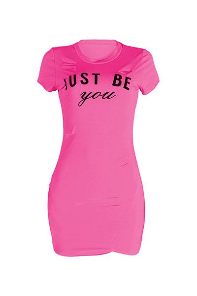 Lazer rodada pescoço curto mangas quebrado buracos rosa vermelho poliéster mini vestido