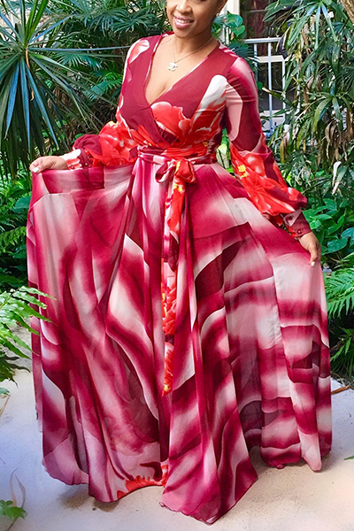 Euramerican V Neck Long Sleeves Printed Red Chiffon Floor Length Dress