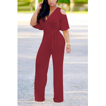 Stylish V Neck Half Sleeves Hollow-out Wine Red  Qmilch One-piece Jumpsuits (With Belt)