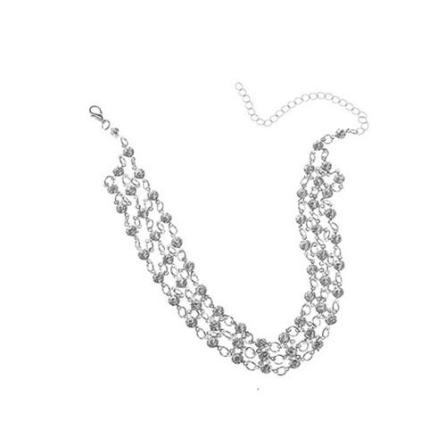 Fashion Rhinestone Decorative Silver Metal Choker