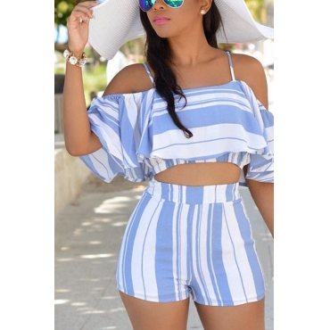 Sexy Spaghetti Strap Sleeveless Striped White Polyester Two-piece Shorts Set