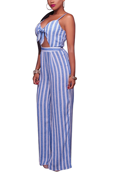 Sexy V Neck Spaghetti Straps Sleeveless Striped Light Blue Healthy Fabric One-piece Jumpsuits