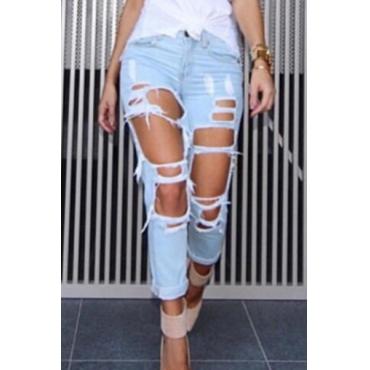 Стильные высокие талии Разбитые отверстия Светло-джинсовые джинсы
