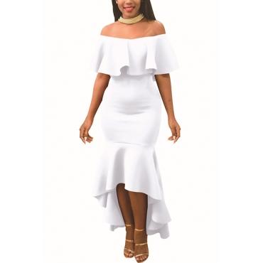 Encantador hombro de rocío Falbala diseño blanco poliéster vestido de longitud de tobillo