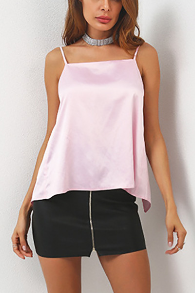Sexy Backless Pink Polyester Tank Top