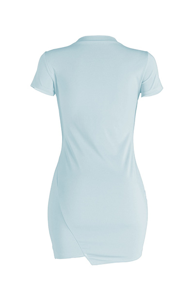 Leisure Round Neck Mangas curtas Broken Holes Skyblue Polyester Mini Dress