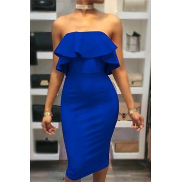 Charming Dew Shoulder Falbala Design Blue Cotton Sheath Knee Length Dress