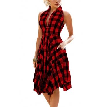 Стильный отложным воротником рукавов пледы красный полиэстер Длина колена платье