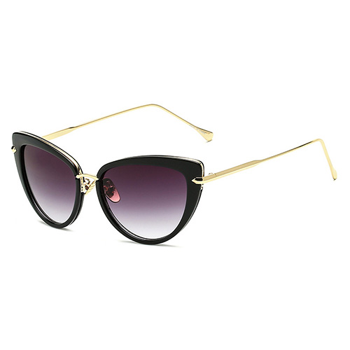 Fashion Cat's eye Design Black Metal Sunglasses
