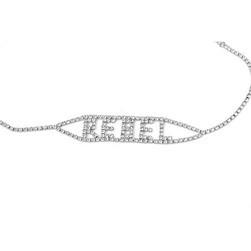 Fashion Letters Rhinestone Decorative Silver Metal Necklace