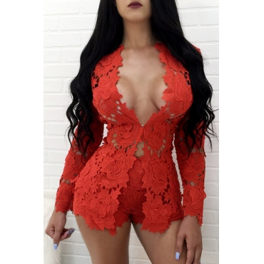 Sexy V Neck Long Sleeves Hollow-out Red Lace Two-piece Shorts Set