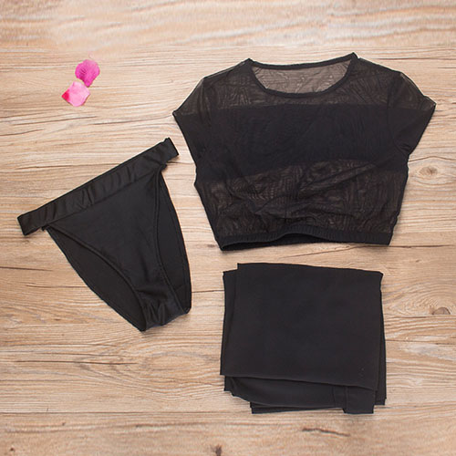 Sexy See-Through Black Polyester Two-piece Swimwear(Contain The Shawl)