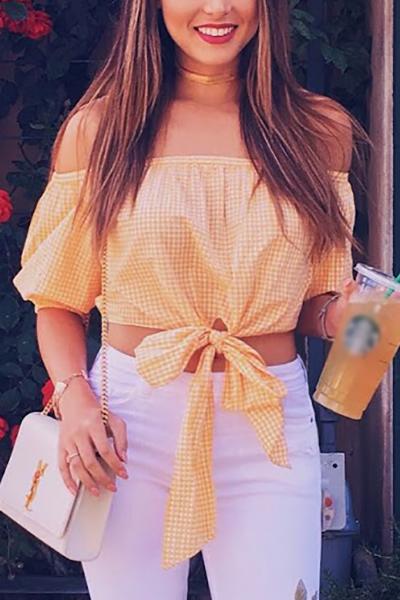 Pullovers Algodón Bateau Cuello manga corta Plaid Blusas y camisas