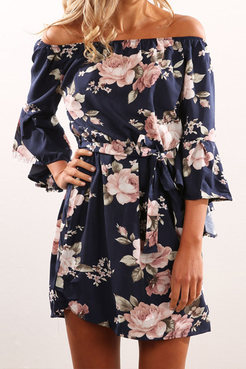 Polyester Bohemian Bateau Neck Off The Shoulder Th