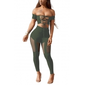 Sexy Dew Shoulder Hollow-out Army Green Polyester Two-piece Pants Set