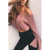 Charming Bateau Neck Long Sleeves Pink Chiffon Shi