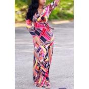Twilled Satin Fashion V Neck Long Sleeve A Line Fl