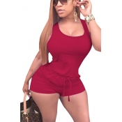 Leisure Sleeveless Drawstring Design Wine Red Polyester One-piece Skinny Jumpsuits
