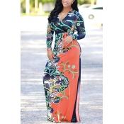 Euramerican V Шеи С Длинным Рукавом Цветочный Принт Оранжевый Здоровый Ткань Длина Пола Платье