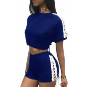 Leisure Round Neck mangas curtas Oco-out Blue Polyester Two-piece Shorts Set