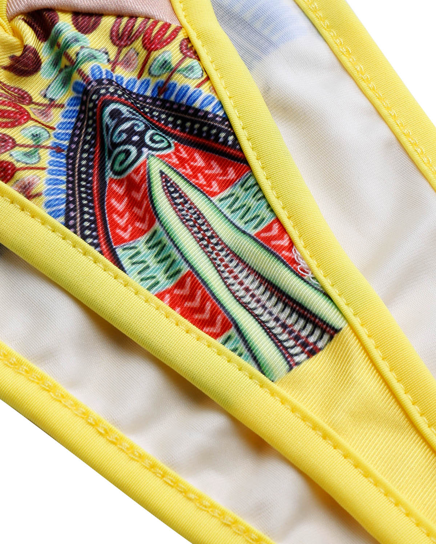 Сексуальный печатный прозрачный желтый полиэстер Цельный купальник (без колье)