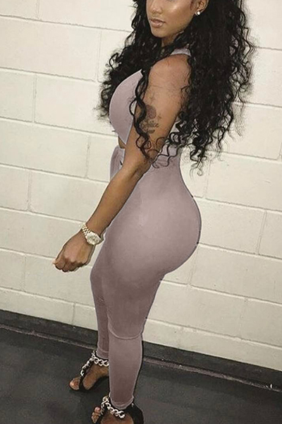 Sexy Deep V Neck Sleeveless Hollow-out Grey Twilled One-piece Skinny Jumpsuits