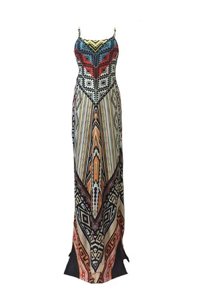 Elegante correa de espagueti con cuello en V sin mangas impreso vestido de leche de longitud de tobillo de fibra de leche