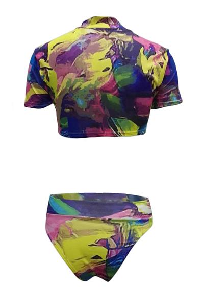 Bikini di stampa in poliestere (tre pezzi)