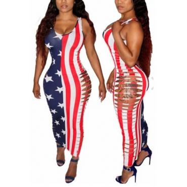 Sexy sin mangas impreso de hueco a cabo de poliéster vaina tobillo vestido de longitud