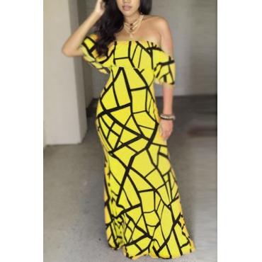 Очаровательная шею Bateau с короткими рукавами Дизайн Falbala желтого молока Milk волокна оболочкой лодыжки платье