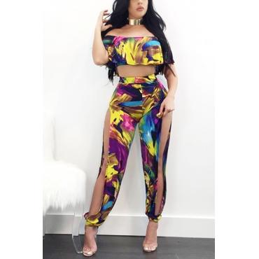 Fashion Dew Shoulder Printed Hollow-out Qmilch Two-piece Pants Set
