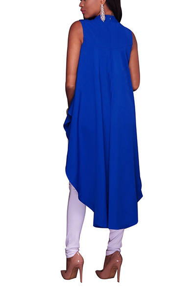 Stylish Round Neck Sleeveless Asymmetrical Blue Nylon Shirts
