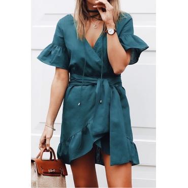 Stylish V Neck Short Sleeves Falbala Design Dark Green Cotton Mini Dress