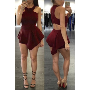 Leisure Round Neck Sleeveless Hollow-out Wine Red Blending One-piece Skinny Jumpsuits