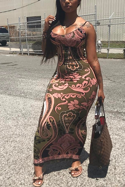 Sexy Printed Backless Milk Fiber Sheath Floor Length Dress