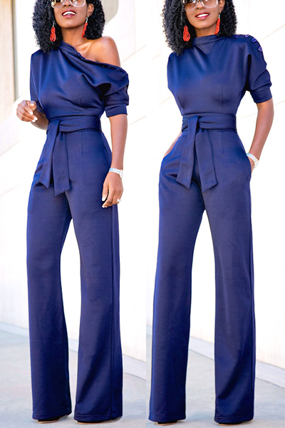 Euramerican Navy Blue Knitting One-piece Jumpsuits