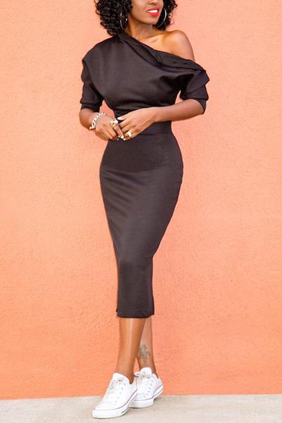 Stylish Dew Shoulder Asymmetrical Black Polyester Sheath Knee Length Dress
